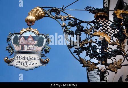 Sign of an inn, wine tavern Stiftstor, Treis-Karden, Moselle river, Rhineland-Palatinate, Germany, Europe - Stock Photo