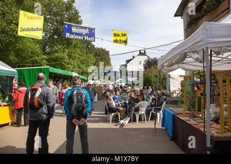 Wine festival at Moselle village Brauneberg, Moselle river, Rhineland-Palatinate, Germany, Europe - Stock Photo