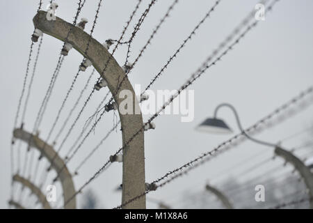 Barbed wire fences inside Auschwitz I German Nazi concentration and ...