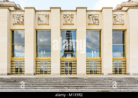 Paris, France - December 18, 2017: Front view of the Art Deco style facade of the Grand Foyer of the Theatre National - Stock Photo