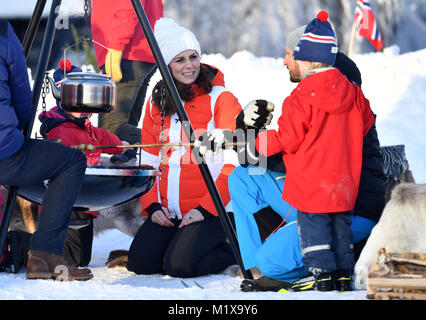 The Duchess of Cambridge attending an event in Tryvann, Oslo, Norway, organised by the Norwegian Ski Federation, - Stock Photo