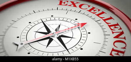 Excellence concept. Compass red arrow pointing at red letters word Excellence. 3d illustration - Stock Photo