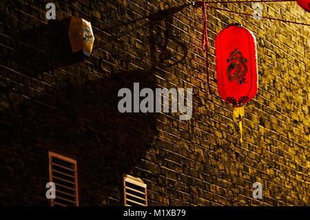 Chinatown London chinese new year parade red lantern - Stock Photo