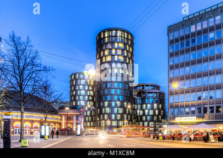 Copenhagen, Denmark - March 11, 2017: Evening view of the modern Axel Towers - Stock Photo