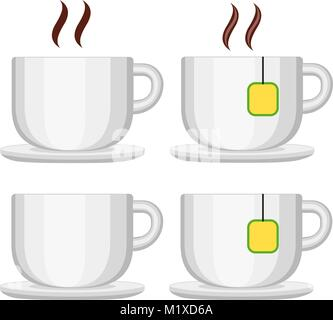 Ceramic tea coffee cup set isolated on white background. Flat vector illustration for certificate banner sticker, - Stock Photo