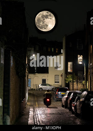 Supermoon over a street in Camden North London UK - Stock Photo