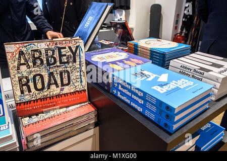 The Abbey Road shop selling various music related gifts, including Beatles related books. - Stock Photo