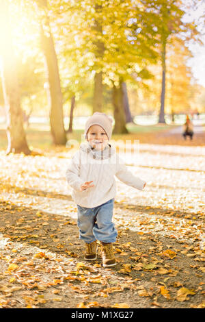 Little boy playing in autumn leaves in Sweden - Stock Photo