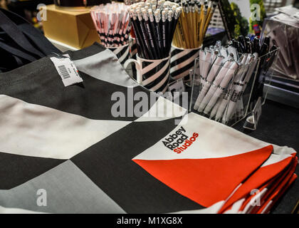 The Abbey Road shop selling various music related gifts, including Bags,pens and pencils. - Stock Photo