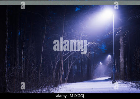 Frosty street at night in Pirkanmaa, Finland - Stock Photo