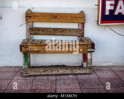 Aged homemade bench worn out in Sinai, Egypt - Stock Photo