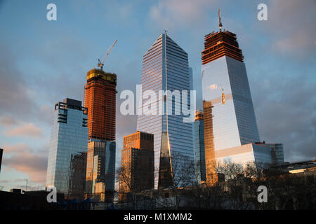 10 Hudson Yards, center, 30 Hudson Yards, right, and other Hudson Yards development in New York on Wednesday, January - Stock Photo