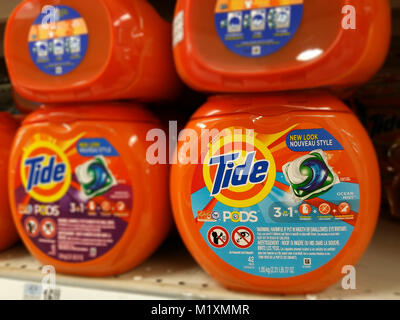 Packages of Tide Pods detergent in a supermarket in New York on Thursday, January 25, 2018.  Photo illustration. - Stock Photo