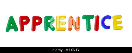 The word 'apprentice' made up from coloured plastic letters - Stock Photo
