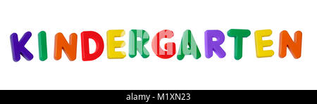 The word 'kindergarten' made up from coloured plastic letters - Stock Photo