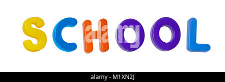 The word 'school' made up from coloured plastic letters - Stock Photo