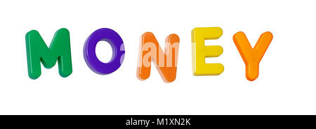 The word 'money' made up from coloured plastic letters - Stock Photo