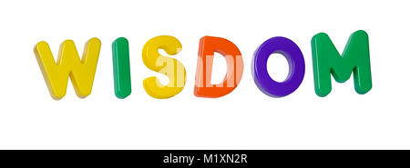 The word 'wisdom' made up from coloured plastic letters - Stock Photo