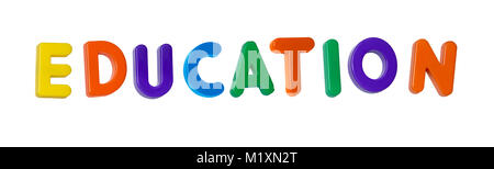 The word 'education' made up from coloured plastic letters - Stock Photo