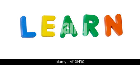 The word 'learn' made up from coloured plastic letters - Stock Photo
