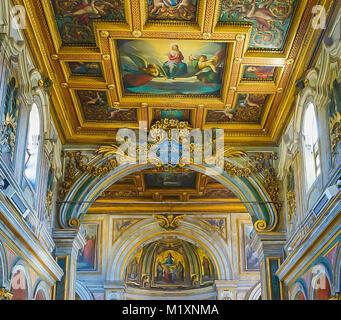 ROME , ITALY- OCTOBER 10, 2017: The Interior of the Basilica of St Bartholomew on Tiber Island