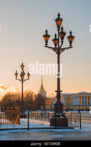 Admiralty, view from the Palace Square at sunset. Saint-Petersburg, Russia - Stock Photo