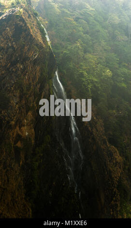waterfall from the famous jogfalls in Karnataka, India during a summer day - Stock Photo