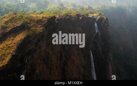 Waterfall from the famous jogfalls in Karnataka, India during a summer - Stock Photo