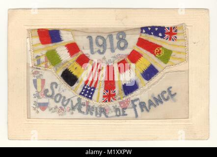 WW1 era silk embroidered card, entitled 'Souvenir de France', with allied forces flags, dated 1918, sent home by - Stock Photo