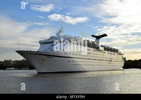 CMV Cruise And Maritime Voyages Cruise Ship Magellen Arrives at London Tilbury Cruise Terminal On The River Thames. - Stock Photo