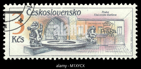 Czechoslovakia - stamp 1988: Color edition on Prague fountains, shows Fountain Charles University - Stock Photo