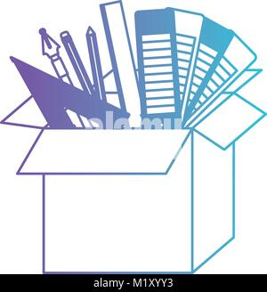 cardboard box with graph design tools in degraded purple to blue contour - Stock Photo