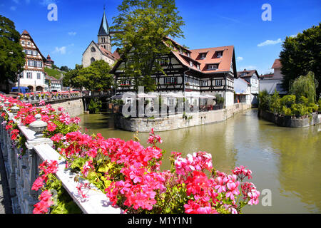 ESSLINGEN AM NECKAR, GERMANY - 18 JULY: view of old wattle houses in city center with the ancient castle on background. - Stock Photo