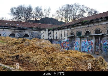 Rome. Italy. Horses stables in Campo Boario. - Stock Photo