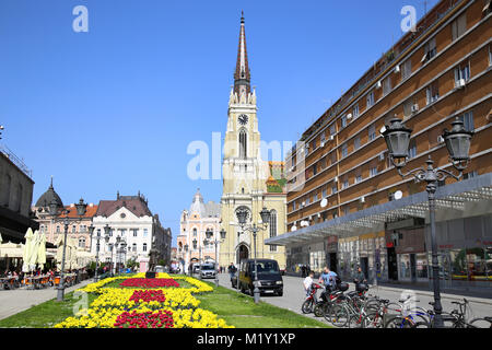 NOVI SAD, SERBIA - APRIL 03: View on Catholic Cathedral from street Modene in Novi Sad, which in this city keeps - Stock Photo
