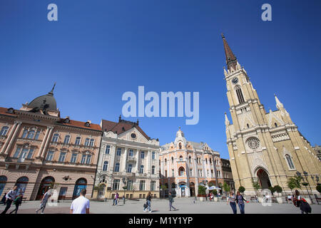NOVI SAD, SERBIA - APRIL 03: View of Liberty Square (Trg Slobode) in Novi Sad, which in this city keeps the summer - Stock Photo