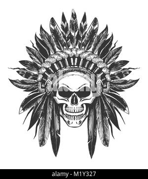 Human Skull in Native American indian War Bonnet drawn in tattoo style. Vector illustration. - Stock Photo