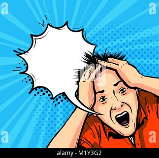 Shocked man. Panic, horror, stress concept. Vector illustration in pop art retro comic style - Stock Photo
