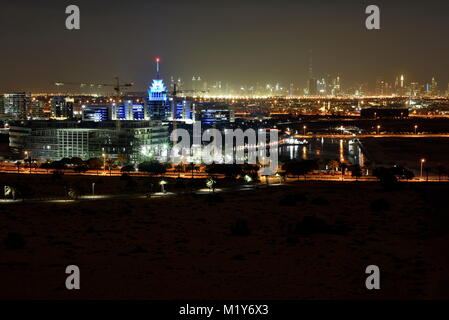 Dubai Skyline from Dubai Silicon Oasis area, Dubai, United Arab Emirates - Stock Photo