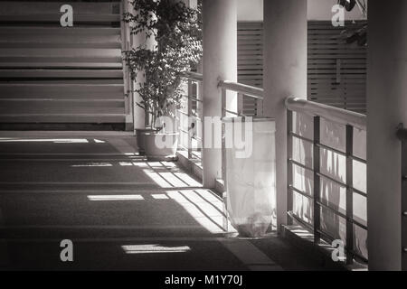 Abstarct black and white image of transparent trash bin setting on concrete floor beside footpath or walkway. - Stock Photo