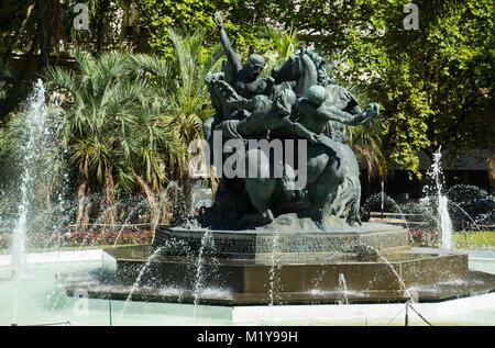 Fountain and historic memorial on Juan Pedro Fabini Square in center of Montevideo, Uruguay - Stock Photo