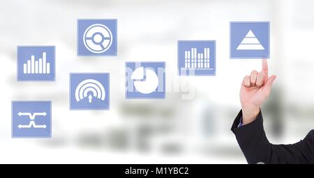 Hand touching business chart statistic icons - Stock Photo