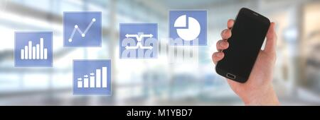 Hand holding phone and business chart statistic icons - Stock Photo