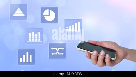 Holding phone and business chart statistic icons - Stock Photo