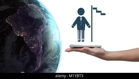 Hand holding tablet with businessman and flag icon next to world earth planet - Stock Photo