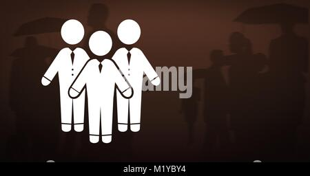 Business people group icon and people silhouettes - Stock Photo