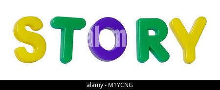 The word 'story' made up from coloured plastic letters - Stock Photo