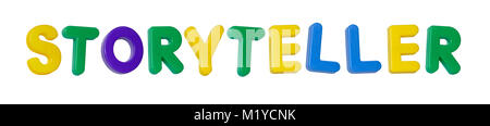 The word 'storyteller' made up from coloured plastic letters - Stock Photo