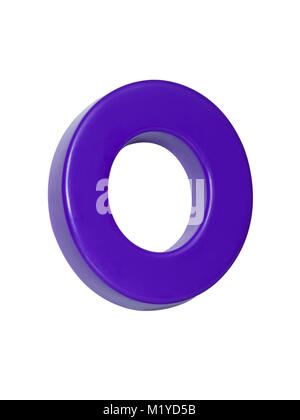 A cut out shot of a purple plastic letter 'O' - Stock Photo