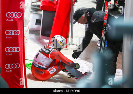 ZAGREB, CROATIA - JANUARY 4, 2018 :  Kristoffersen Henrik of Nor dissatisfied with third place at the Audi FIS Alpine - Stock Photo